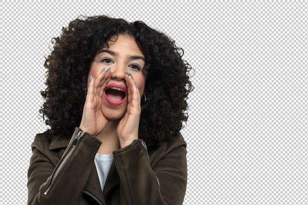 Giovane donna che grida e arrabbiata