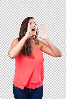 Giovane donna che grida