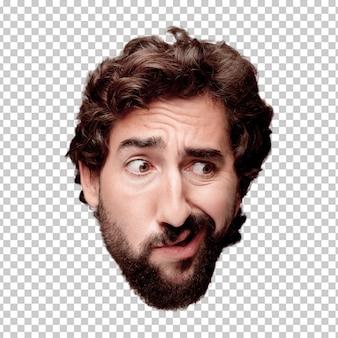Giovane espressione della testa del ritaglio barbuto pazzo dell'uomo isolata concetto di pensiero