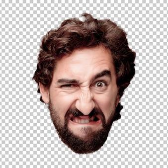 Giovane espressione della testa del ritaglio barbuto pazzo dell'uomo isolata. espressione arrabbiata