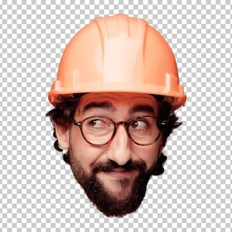 Giovane espressione della testa del ritaglio barbuto pazzo dell'uomo isolata. ruolo dell'architetto. concetto di pensiero