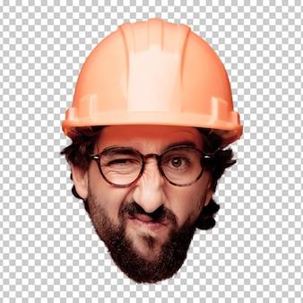 Giovane espressione della testa del ritaglio barbuto pazzo dell'uomo isolata. ruolo dell'architetto. espressione arrabbiata