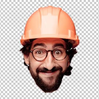 Giovane espressione della testa del ritaglio barbuto pazzo dell'uomo isolata. ruolo dell'architetto. posa felice