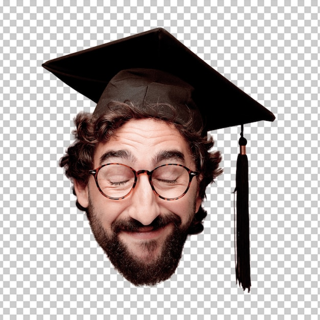 Giovane espressione della testa del ritaglio barbuto pazzo dell'uomo isolata. ruolo di laurea. posa felice
