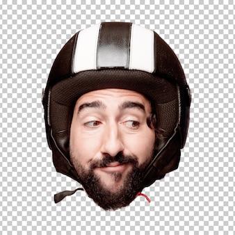 Giovane espressione della testa del ritaglio barbuto pazzo dell'uomo isolata. ruolo di pilota di motociclette. concetto di pensiero