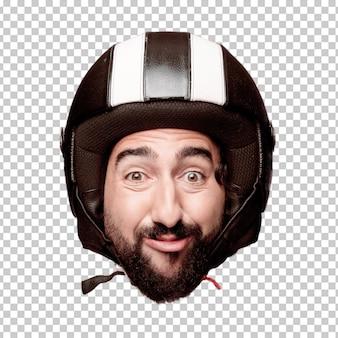 Giovane espressione della testa del ritaglio barbuto pazzo dell'uomo isolata. ruolo di pilota di motociclette. concetto scherzoso