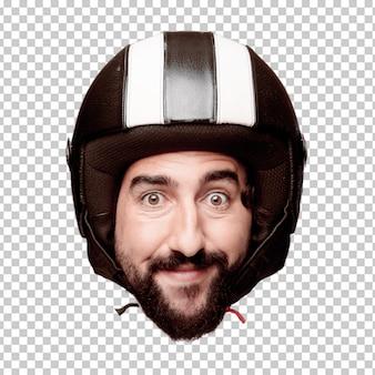 Giovane espressione della testa del ritaglio barbuto pazzo dell'uomo isolata. ruolo di pilota di motociclette. concetto sorpreso