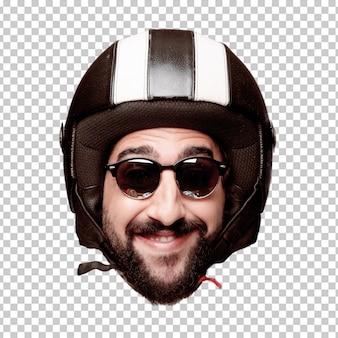 Giovane espressione della testa del ritaglio barbuto pazzo dell'uomo isolata. ruolo di pilota di motociclette. posa felice