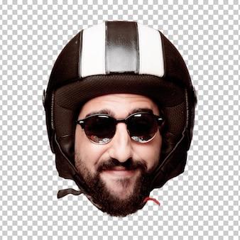 Giovane espressione della testa del ritaglio barbuto pazzo dell'uomo isolata. ruolo di pilota di motociclette