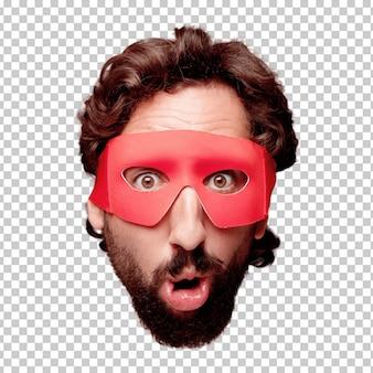 Giovane espressione della testa del ritaglio barbuto pazzo dell'uomo isolata. ruolo di super eroe. concetto sorpreso