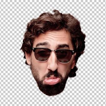 Giovane espressione della testa del ritaglio barbuto pazzo dell'uomo isolata. ruolo hipster con occhiali da sole. concetto triste