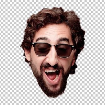 Giovane espressione della testa del ritaglio barbuto pazzo dell'uomo isolata. ruolo hipster con occhiali da sole. posa felice