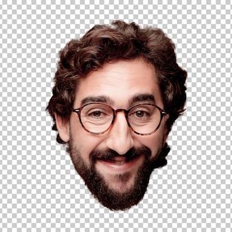 Giovane espressione della testa del ritaglio barbuto pazzo dell'uomo isolata. ruolo hipster con occhiali da vista. posa felice