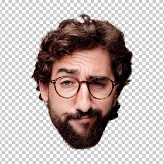 Giovane espressione della testa del ritaglio barbuto pazzo dell'uomo isolata. ruolo hipster con occhiali da vista