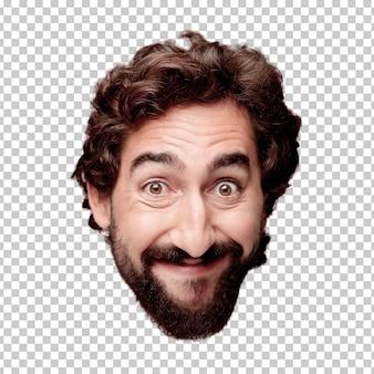Giovane espressione pazza della testa del ritaglio barbuto isolata. posa felice