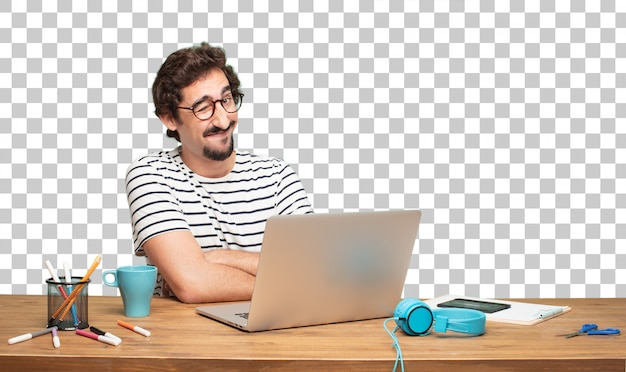 Giovane graphic designer uomo barbuto. concetto di occhiolino