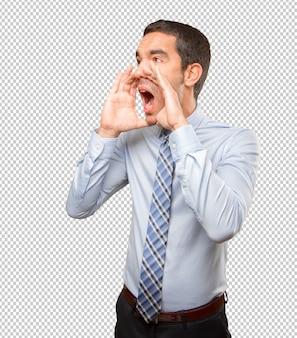 Giovane imprenditore gridando
