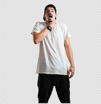 Giovane rapper uomo preoccupato e sopraffatto, ansioso sensazione di pressione, concetto di angoscia
