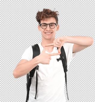 Giovane studente fiducioso che fa un gesto del telaio con le sue mani