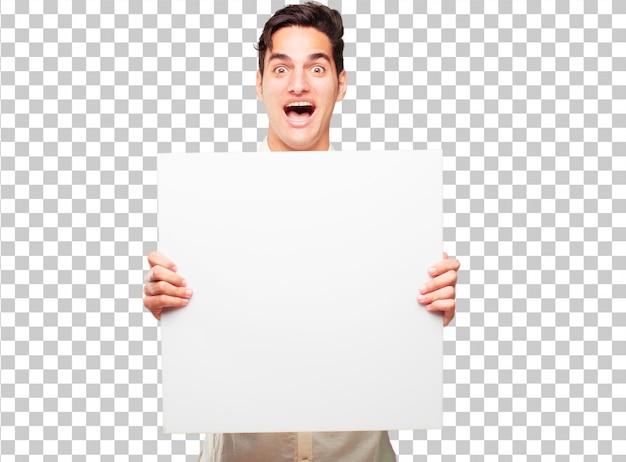 Giovane uomo abbronzato bello con un cartello