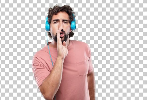 Giovane uomo con la barba che si sporge in avanti e sussurra un segreto con uno sguardo serio e sorpreso sul viso
