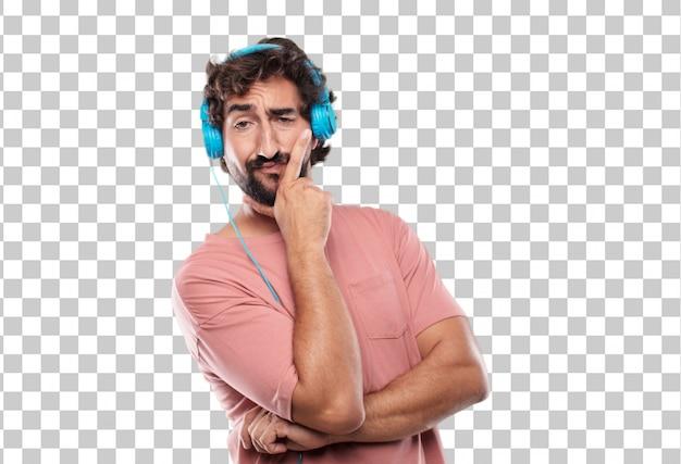 Giovane uomo con la barba con un confuso e pensieroso