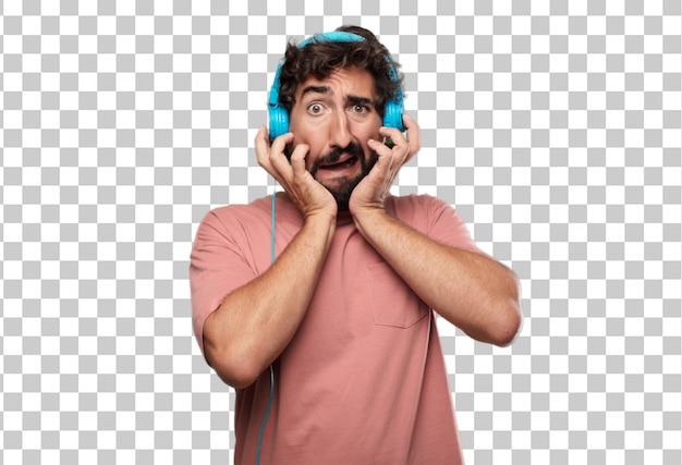 Giovane uomo con la barba con un gesto stressato, con entrambe le mani a metà viso coprente.