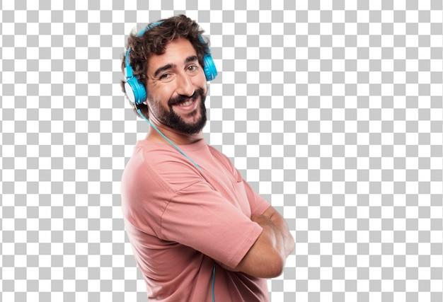 Giovane uomo con la barba con uno sguardo soddisfatto e felice sul suo viso