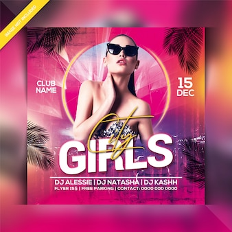 Girl night party flyer