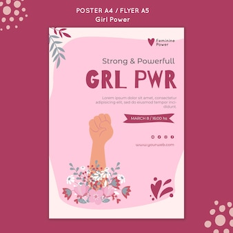 Girl power flyer-sjabloon geïllustreerd
