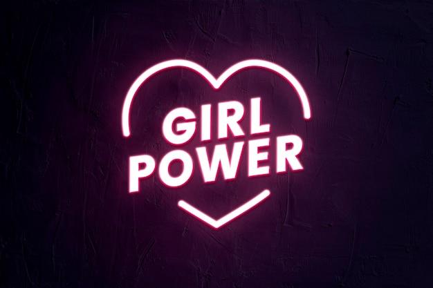 Girl power typografie sjabloon psd in neonstijl met hartvorm