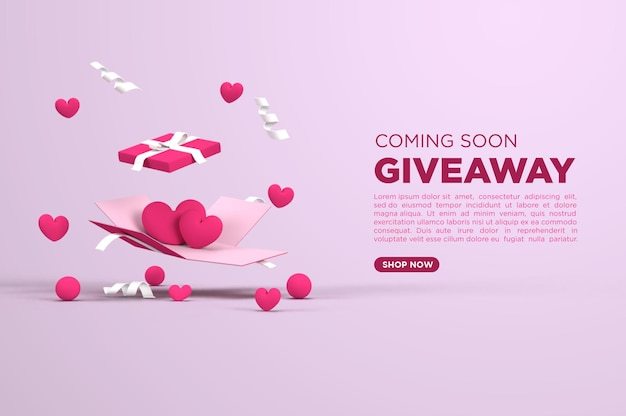 Giveaway met liefde 3d render voor social media-sjabloon