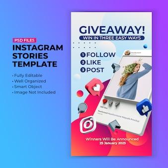 Giveaway-promotiesjabloon voor post op sociale media
