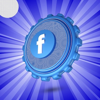 Glanzend facebook-logo geïsoleerd 3d-ontwerp