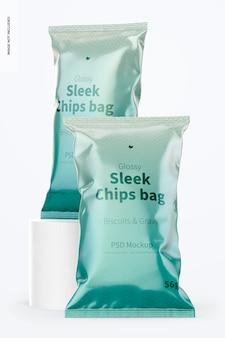 Glanzend gestroomlijnde chipszakken mockup, vooraanzicht