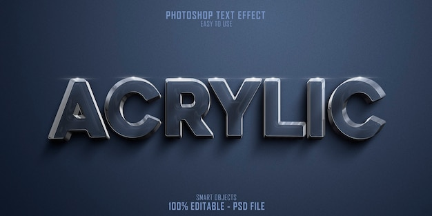 Glanzend materiaal acryl 3d-tekststijleffect sjabloon