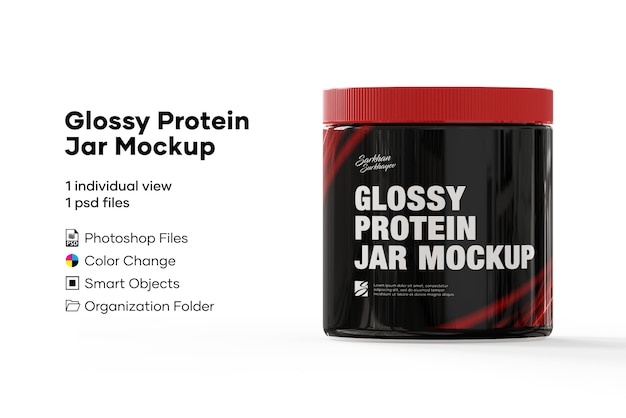 Glanzend proteïne potmodel Premium Psd