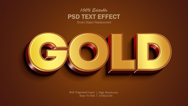 Glanzend rood goud teksteffect sjabloon