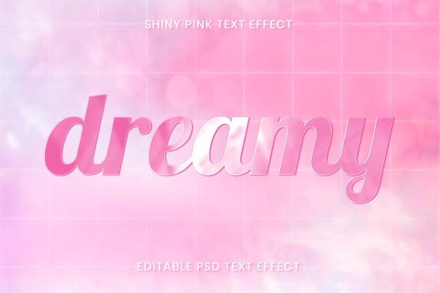 Glanzend roze teksteffect psd bewerkbare sjabloon