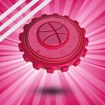 Glanzende dribbel logo geïsoleerd 3d-ontwerp