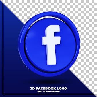 Glanzende facebook-logo geïsoleerde 3d-ontwerpweergave