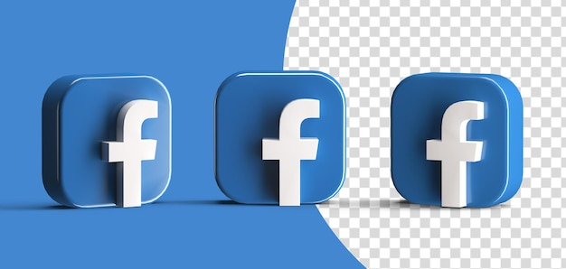 Glanzende facebook social media logo icon set 3d render geïsoleerd