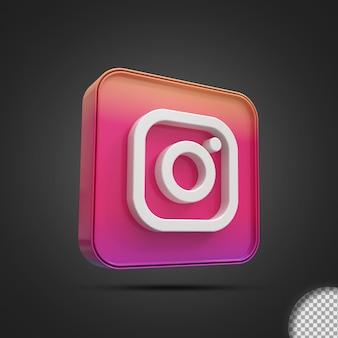 Glanzende instagram sociale media logo pictogram 3d-rendering