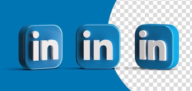 Glanzende linkedin social media logo icon set 3d render scèneschepper geïsoleerd