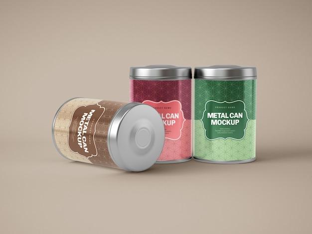 Glanzende metalen blikken doos mockup