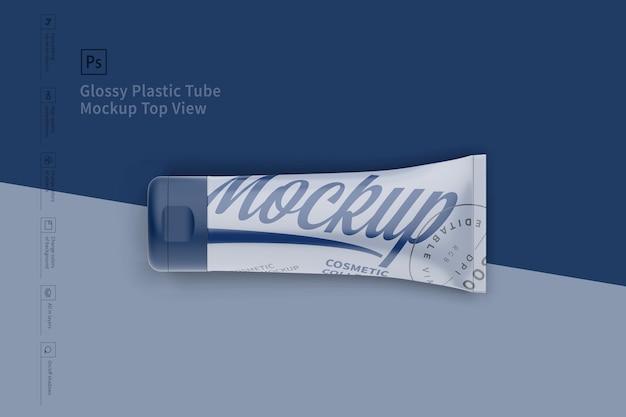 Glanzende plastic buis mockup top. visie