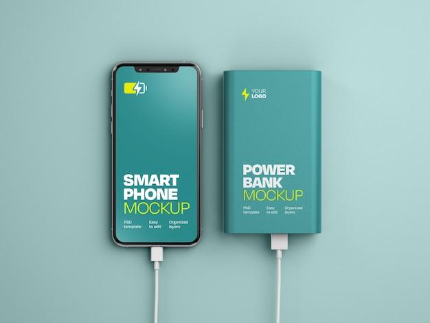 Glanzende powerbank met smartphonemockup