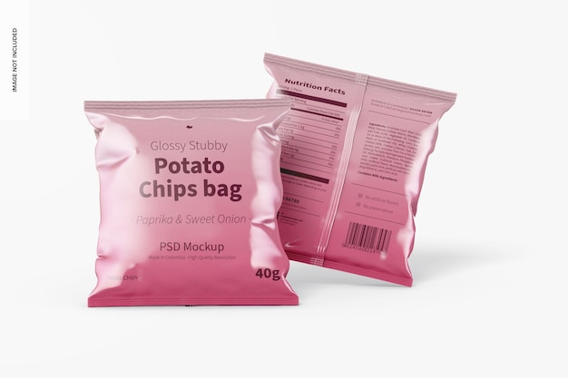 Glanzende stubby chips tassen mockup