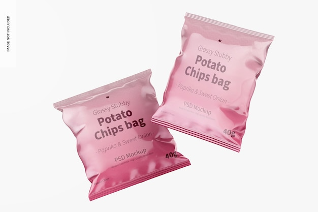 Glanzende stubby chips zak mockup