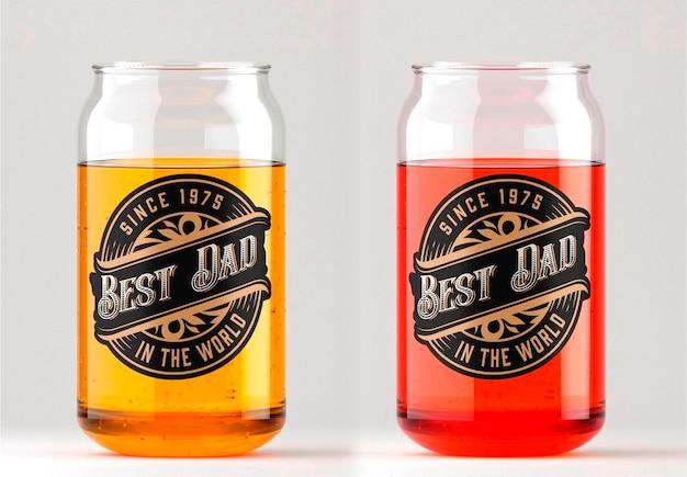 Glas met bier mockup design